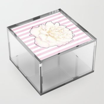 Pale Rose on Stripes Acrylic Box by drawingsbylam