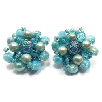 Light Blue and Green Vintage Clip On Earrings Beaded Cluster Made in Western Germany Silver Tone Mid Century Mod Jewelry