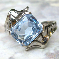 Vintage Engagement Ring Elegant Synthetic 3.79ct Aquamarine/Blue Spinel Bypass Ring 10K White Gold March Birthstone Ring size 5.5!