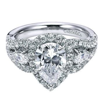 14K White Gold Pear Shaped 3-Stone Halo Diamond Engagement Ring