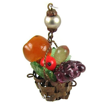 Low Hanging Fruit - Vintage 1940s Miniature Glass Fruit Basket Charm or Pendant, Handwoven Brass Basket, Folk Art