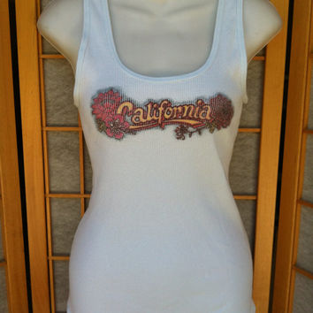 Vintage Lucky Brand California Ribbed Tank Top 100% Cotton L XL