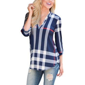 2017 Autumn Fashion Ladies Top V Neck Tops Tee Plaid Women Blouse Shirt Three-quarter Sleeve Casual Feminine Blouses