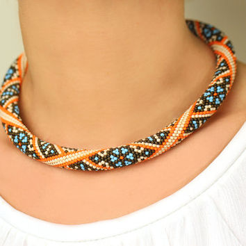 "Bead Crochet Necklace ""Eastern Harmony"" Turquoise Orange Beige Bronze Statement Necklace Beaded Rope Turquoise Rope Geometric Pattern Modern"
