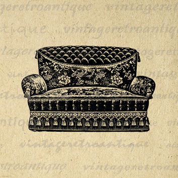Antique Couch Graphic Printable Digital Furniture Image Download Vintage Clip Art for Transfers Printing etc HQ 300dpi No.1297