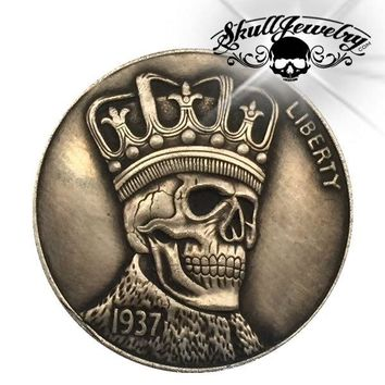 'Skull w/Crown' 1937-D 3-Legged Buffalo Hobo Nickel (m0083)