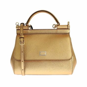 Dolce & Gabbana Miss SICILY Gold Metallic Leather Hand Shoulder Bag