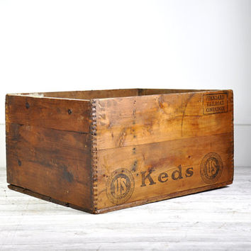 Vintage Large Wood Crate, Antique Wood Box, Wooden Crate, Industrial Storage