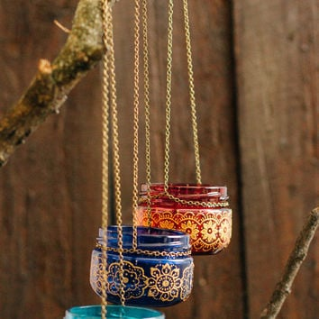 BOHEMIAN wedding decor, moroccan outdoor lantern, hanging jar candle lanterns, painted jar, henna pattern jar, colorful lantern