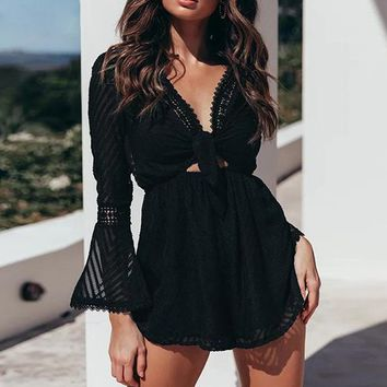 Casual Rompers Women Long Sleeve Baach Sexy Playsuits Transparent Hollow Out Jumpsuit Rompers