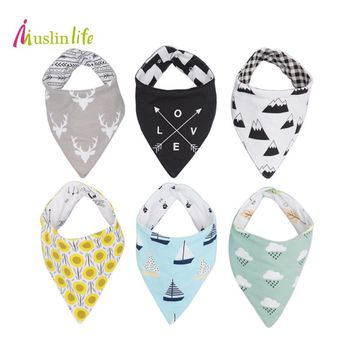 Muslinlife 1pcs Reversible Newborn Baby Bibs Waterproof Cotton Baby Boy Girl Infantil Bandana Burp Cloths for Babies 0-3T