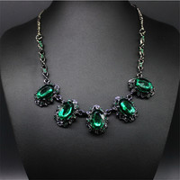 Vintage Crystal Statement Necklace Women Summer Style Black Chain Necklaces & Pendants Colar Jewelry For Gift Party