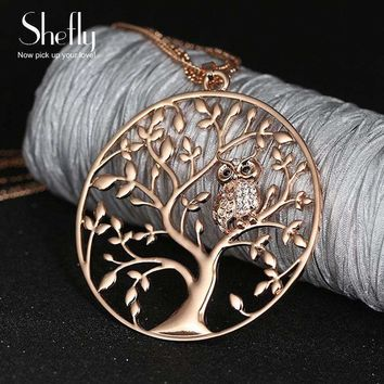 Womens Tree Of Life Jewelry Multilayer Chain Crystal Long Necklace