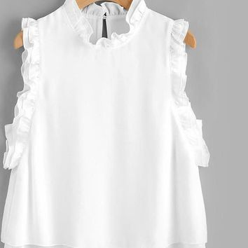 Ruffle Layered Ladies Shell Blouse White Tops Sleeveless Women Tops Keyhole Back Cute Tunic Blouse
