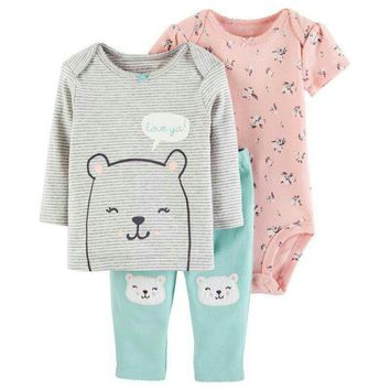 Baby Clothes Set Cute Cartoon 3pcs Long Sleeve T Shirt Bodysuit Pants Baby Girl Flower Clothes