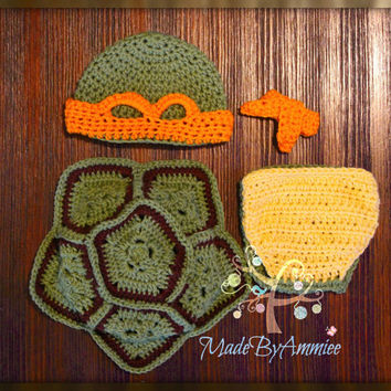 Crochet Turtle Baby Set, Crochet Turtle Shell Mask Diaper Cover, Infant Crochet Shell & Mask,  Crochet Turtle Outfit, Baby Turtle Photoprop