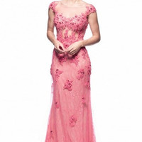 Kari Chang KC17 Pink Lace Cap Sleeve Sheer Illusion Prom Dress