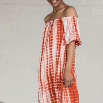 Tie Dye Off Shoulder Dress