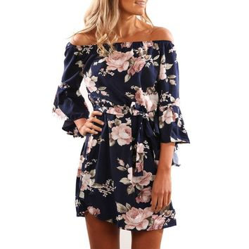 Women Summer Dress 2019 Sexy Off Shoulder Floral Print Boho Style Chiffon Beach Dresses Short Party Dresses with Belt Vestidos