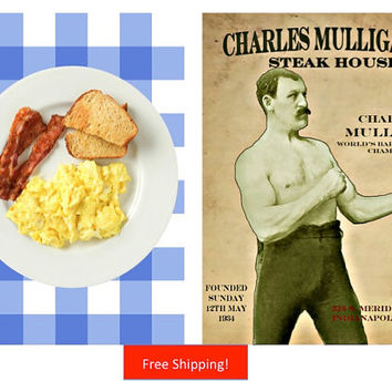 Ron Swanson Parks and Recreation Breakfast Poster and Charles Mulligans Steakhouse Office Print