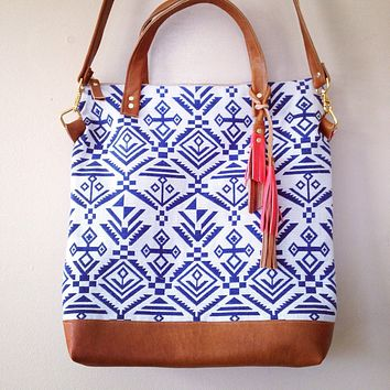 Indigo Tribal Print Tote with Crossbody Strap