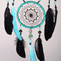 Mint Black Dream Catcher Large Dreamcatcher Dream сatcher Mint Black agate dreamcatchers wall decor handmade Boho Mint Black dream catcher