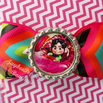 Wreck it Ralph hair bow Vanellope hair clip bottle cap disney girls cute layered over the top boutique hair accessories summer vacation fun