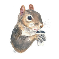Squirrel Watercolour Painting, Original Art, Coffee Cup, Squirrel Painting, 8x10