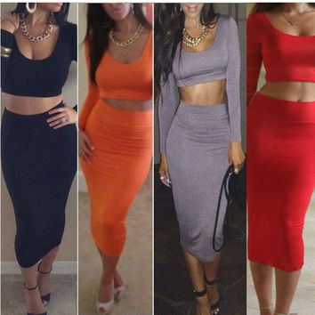 Sports Suit For Women Two Pieces Sets Women Bodycon Crop Tops And Skirt 2 Piece Set Women Tracksuits Clothing Set Big Plus Size