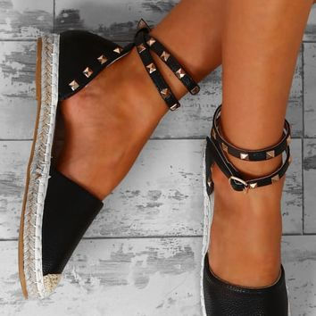 Always In Style Black Studded Espadrilles