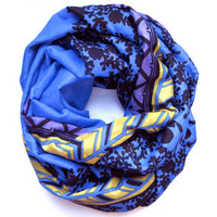 Silk Infinity Scarf Double Loop Scarf Circle Scarf Royal Blue Black Purple Gold Womens Scarf Fashion Accessory Ready To Ship