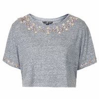 Diamante Necklace Tee - Grey Marl