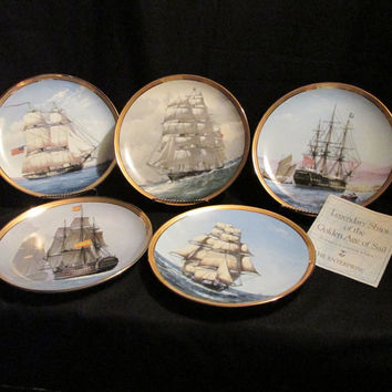 Legendary Ships of the Golden age of sail by Derek Gardner Franklin Mint collectors plates lot of 5