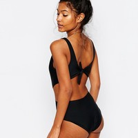 South Beach Mix and Match Plunge Tie Back Swimsuit