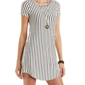 Vertical Striped T-Shirt Shift Dress by Charlotte Russe - Black/White