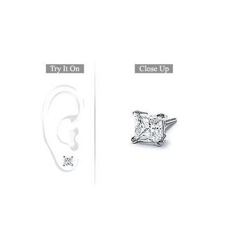 Mens 18K White Gold : Princess Cut Diamond Stud Earring  1.00 CT. TW.