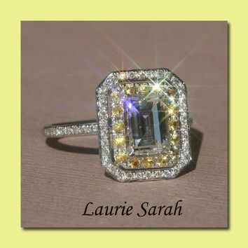 Emerald Cut Diamond Engagement Ring with by LaurieSarahDesigns