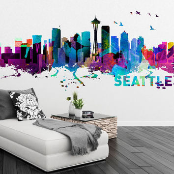 Seattle Skyline - Watercolor Print Effect - Wall Sticker - Home Design - Art Print - Wall Decals - Available as Poster - SKU: SeaSkyWat