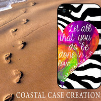 Colorful Heart with Zebra Background Bible 1 Corinthians 16:14 Quote iPhone 4 and 5 Hard Plastic or Rubber Cell Phone Case Original Design