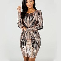 Autumn And Winter New Fashion Women Sequins Long Sleeve Dress
