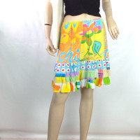 JAMS WORLD Skirt Vintage Surfer Clothing Wear Short Flirty Twirly Summer Skirt Tropical Floral Graffiti Pattern Skirt 28-32 waist S M L
