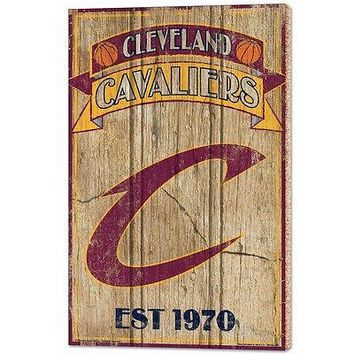 """CLEVELAND CAVALIERS EST 1970 VINTAGE WOOD SIGN 15""""X24'' BRAND NEW WINCRAFT"""