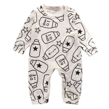 Top Baby Kids Boy Girl Infant Long Sleeve  Romper Milk bottle Jumpsuit Cotton Clothes Outfit Set