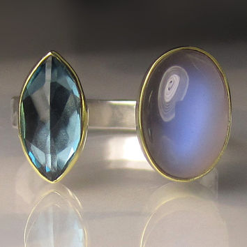 20% OFF SALE - Rainbow Moonstone and London Blue Topaz Cocktail Ring - 18k Gold and Sterling Silver Open Stone Ring - size 7.5
