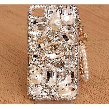 Rhinstone Heart crystal Gem with pearl chain case For iPhone8/X7/7plus 6/6s/6 Plus/6s Plus/5s/5 Luxury case For Samsung Galaxy s