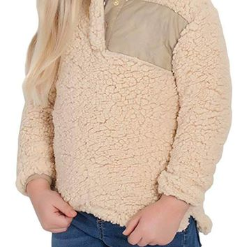 Camel Sherpa Pullover for Little Girl