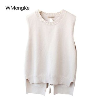 WMongKe 2018 New Women Solid Sweater Girl Fashion Sleeveless Pullover O-Neck Poncho Female Autumn Winter Casual Lace Up Jumper