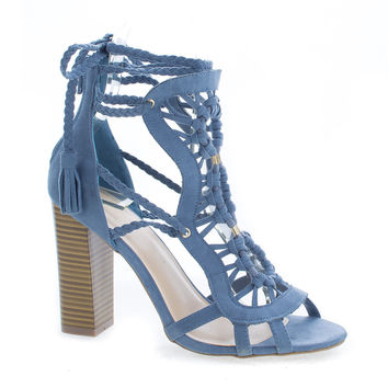 Luciana86 Blue By Wild Diva, Braided Macramé Leg Wrap Stacked High Heel Sandals