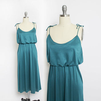 Vintage 1980s Dress - CLIMAX by David Howard Emerald  Party Cocktail 80s - Extra Small  XS