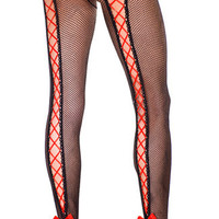 Lace Up Back Fishnet Pantyhose, Fishnet Lace Up Pantyhose, Costume Hosiery